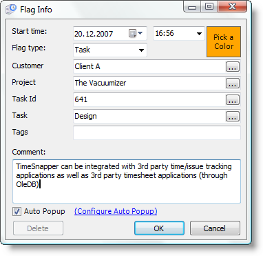 TimeSnapper New Flag - Task
